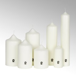 candle, round, ivory, H 16 cm, D 9 cm