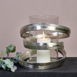 Lombardo Windlicht Aluminium mit Glaseinsatz