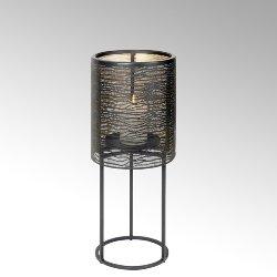 Hiroko canlde pillar, small, iron, black/gold