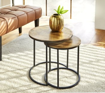Taku side table set of 2 metal stand aluminium