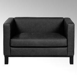 Bella sofa with leather SANTA FE, black