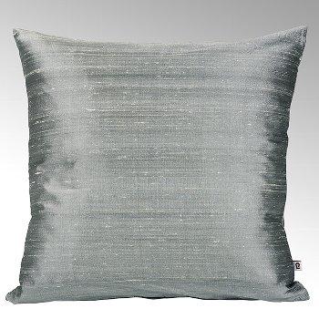 Seine cushion cover 100% silk steel grey, 50x50cm